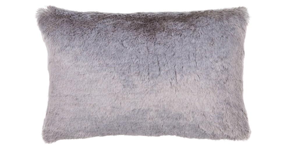 Silver Faux Fur Cushion